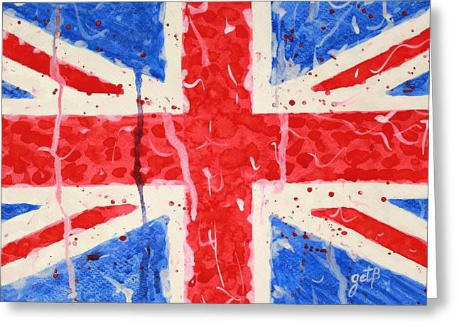 United Kingdom Flag Watercolor Painting Greeting Card by Georgeta  Blanaru