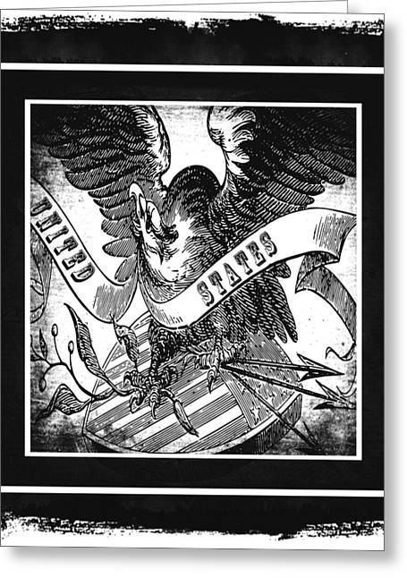 United States Bw Greeting Card by Angelina Vick