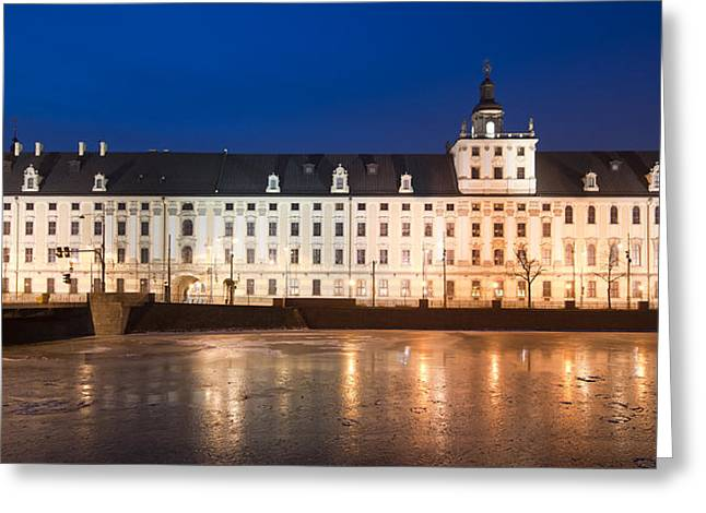 University Of Wroclaw At Night Greeting Card
