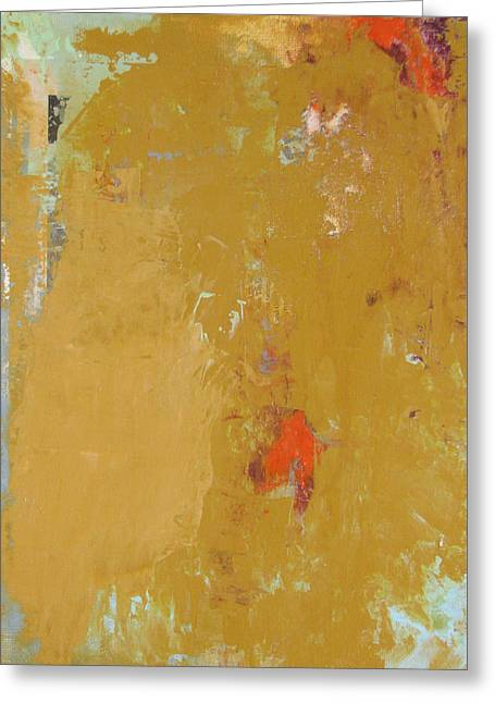 Untitled Abstract - Ochre Cinnabar Greeting Card