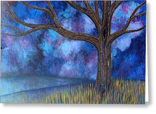 Greeting Card featuring the painting Untitled Tree 0001 by Monica Furlow