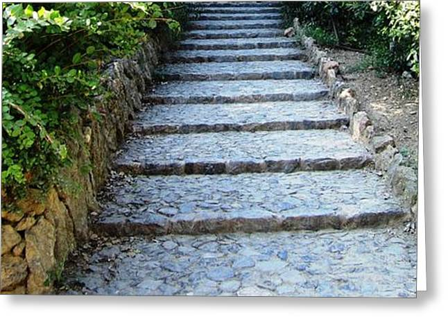 Up Hill Stairs In Parc Guell Barcelona Spain Greeting Card by John Shiron