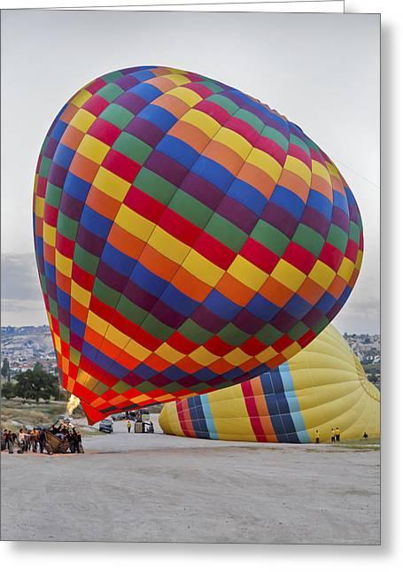 Up She Rises Hot Air Balloon Greeting Card by Kantilal Patel