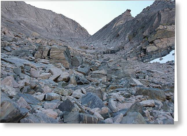 Up The Trough On Longs Peak Greeting Card by Cynthia Cox Cottam