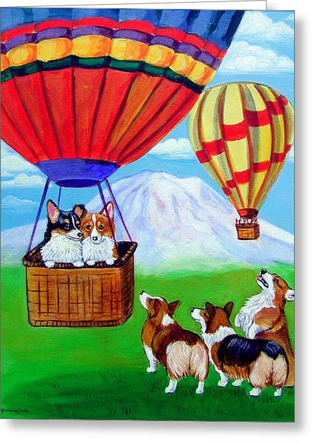 Up Up And Away - Pembroke Welsh Corgi Greeting Card by Lyn Cook