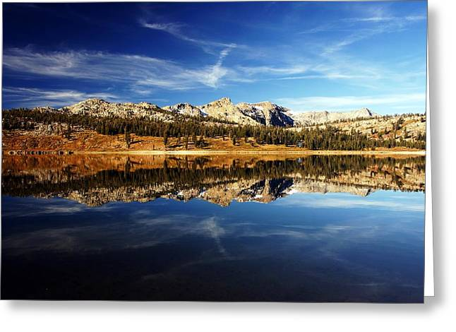 Upper Blue Lake Mirror 3 Greeting Card by Michael Courtney