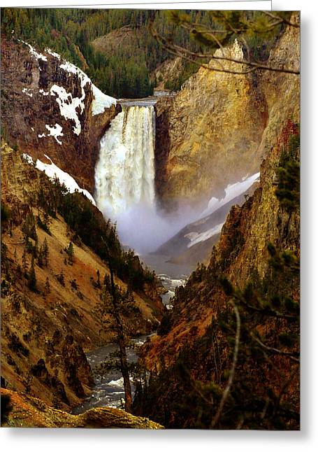 Upper Yellowstone Falls Greeting Card by Ellen Heaverlo