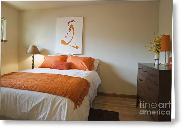 Upscale Bedroom Interior Greeting Card by Inti St. Clair