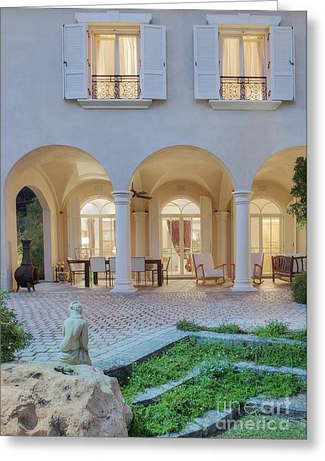 Upscale Residence Seen From Backyard Greeting Card