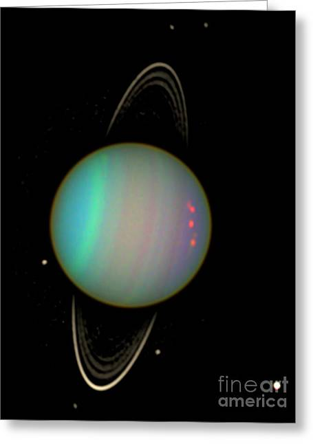 Uranus With Moons Greeting Card by Nasa