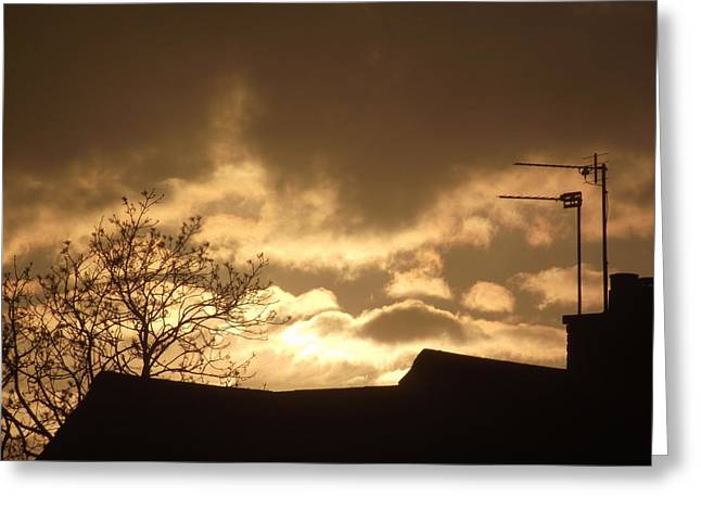 Urban Sunset In April 2012 Greeting Card