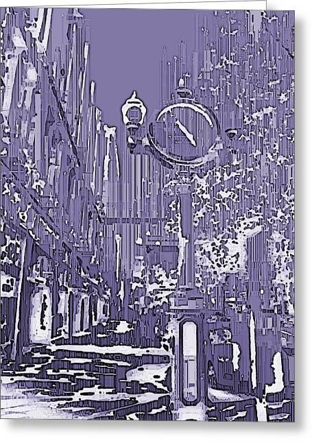 Urban Timepiece Greeting Card by Tim Allen