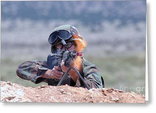 U.s. Air Force Airman Fires An Fnmi Greeting Card by Stocktrek Images