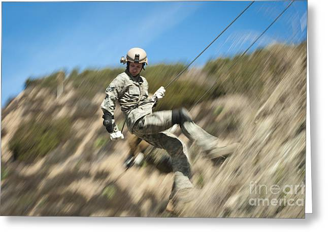 U.s. Air Force Airman Practices Greeting Card by Stocktrek Images
