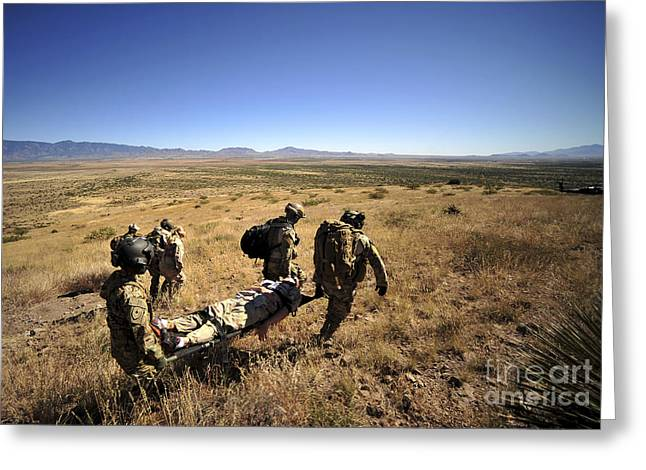 U.s. Air Force Pararescuemen Carry Greeting Card by Stocktrek Images