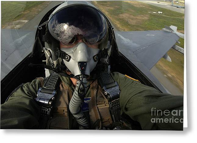 U.s. Air Force Pilot Looking For Nearby Greeting Card by Stocktrek Images