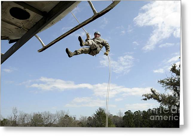 U.s. Air Force Soldier Rappels Greeting Card