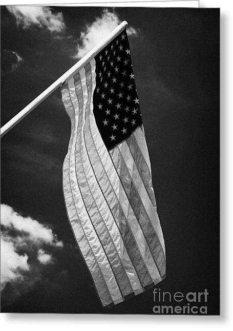 Us American Flag On Flagpole Against Blue Cloudy Sky Usa Greeting Card