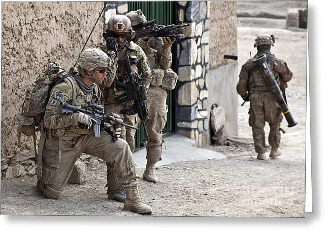 U.s. Army Battalion Pulls Security Greeting Card by Stocktrek Images