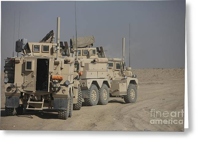 U.s. Army Cougar Mrap Vehicles Greeting Card by Terry Moore