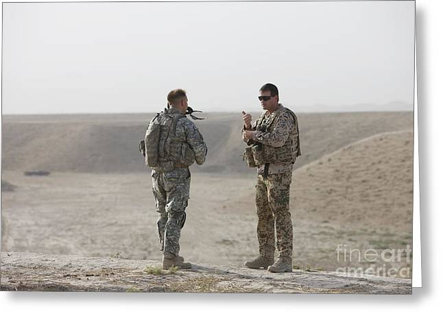 U.s. Army Soldier And German Soldier Greeting Card by Terry Moore