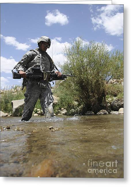 U.s. Army Soldier Crosses A Stream Greeting Card