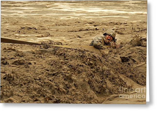 U.s. Army Soldier Fights Racing Water Greeting Card by Stocktrek Images