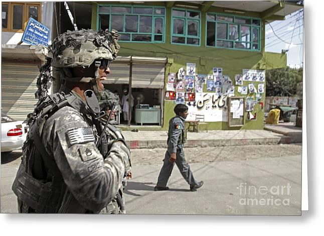 U.s. Army Soldier Patrolling Greeting Card by Stocktrek Images