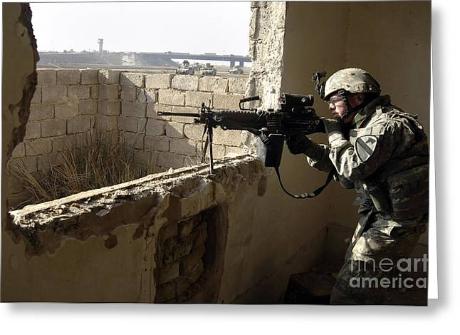 U.s. Army Soldier Searching Greeting Card by Stocktrek Images