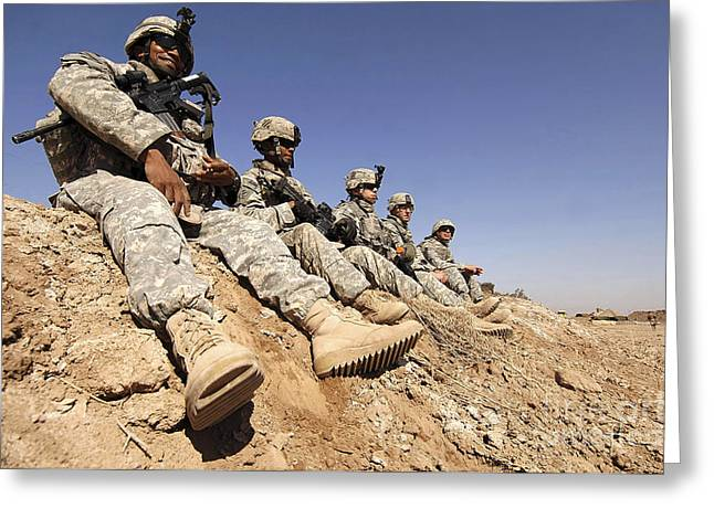 U.s. Army Soldiers And Iraqi Army Greeting Card by Stocktrek Images
