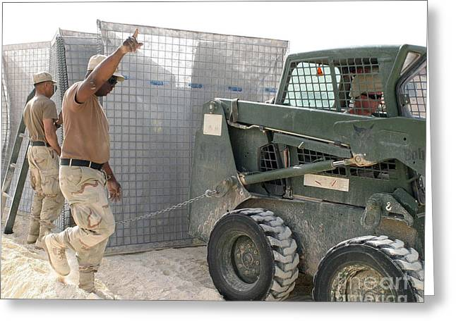 U.s. Army Soldiers Use A Bobcat S150 Greeting Card