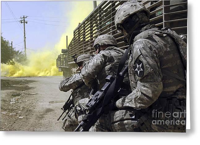 U.s. Army Soldiers Using Smoke Grenades Greeting Card by Stocktrek Images