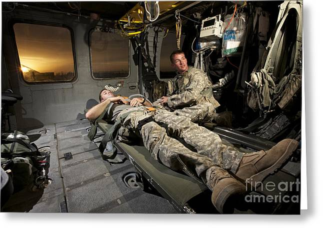 U.s. Army Specialist Practices Giving Greeting Card by Terry Moore