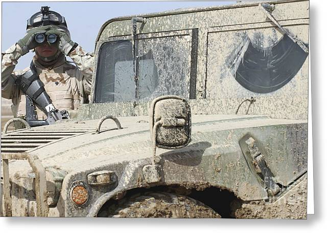 U.s. Army Specialist Scans Greeting Card by Stocktrek Images