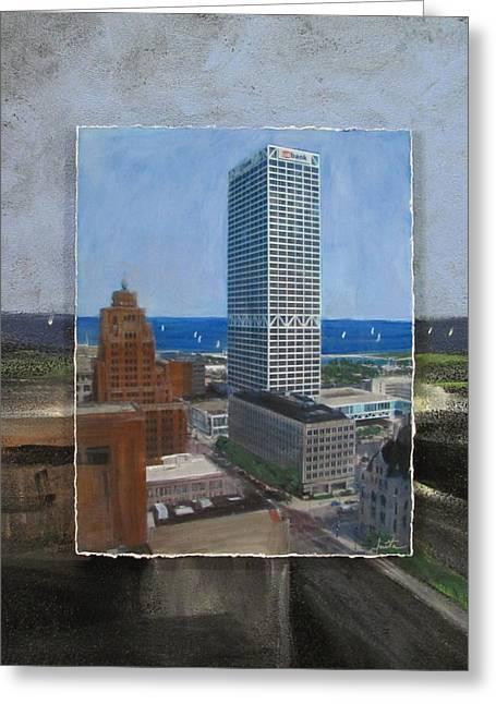 Us Bank Lake Michigan Layered Greeting Card by Anita Burgermeister