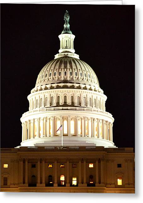 Greeting Card featuring the photograph Us Capitol At Night by Pravine Chester