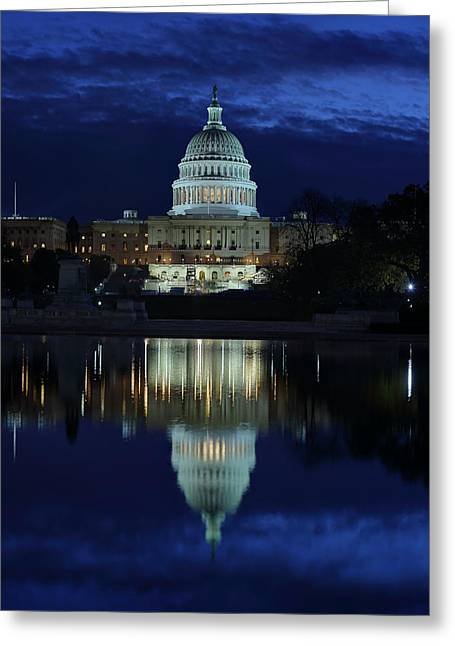Us Capitol - Pre-dawn Getting Ready Greeting Card