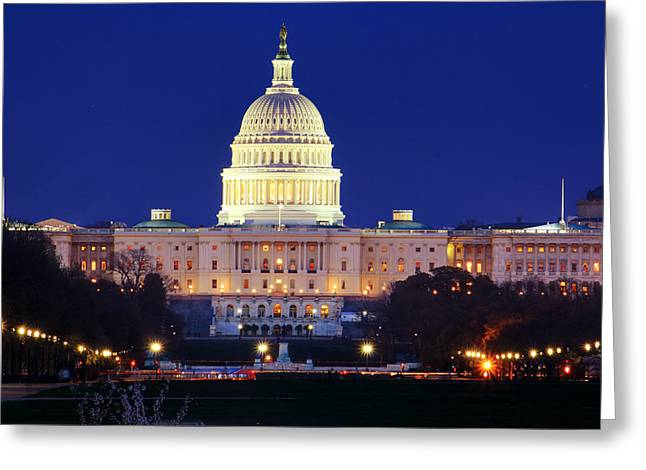 U.s. Capitol Greeting Card by Shelley Neff