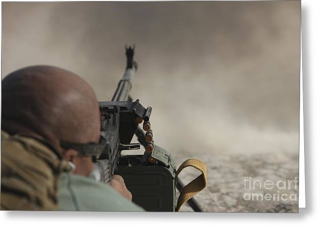 U.s. Contractor Firing The Pkm 7.62 Greeting Card by Terry Moore