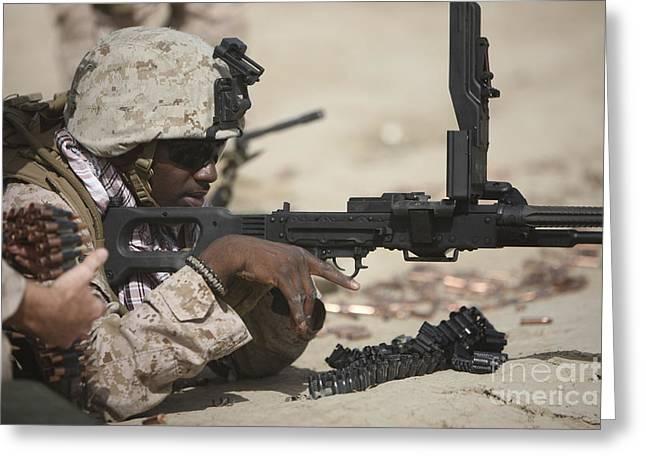 U.s. Marine Clears The Feed Tray Greeting Card