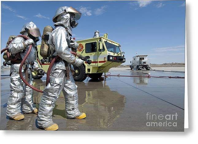 U.s. Marine Firefighters Stand Ready Greeting Card by Stocktrek Images