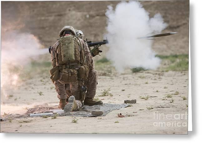 U.s. Marine Fires A Rocket-propelled Greeting Card