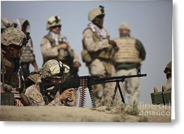 U.s. Marine Prepares To Fire A Pk Greeting Card by Terry Moore