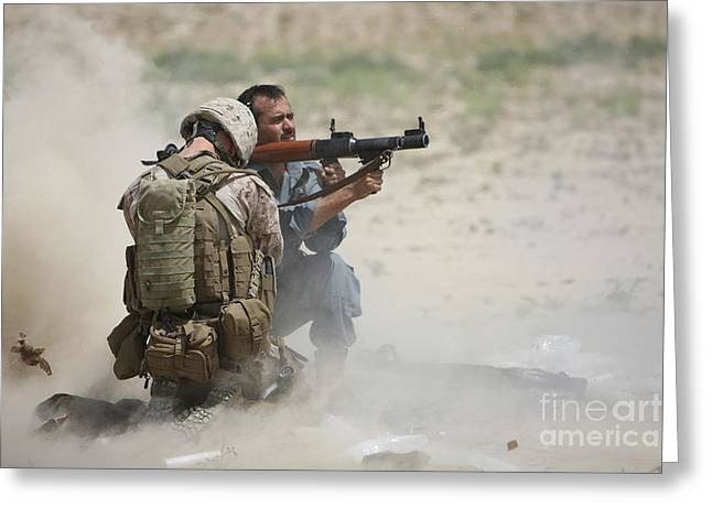 U.s. Marine Watches An Afghan Police Greeting Card by Terry Moore