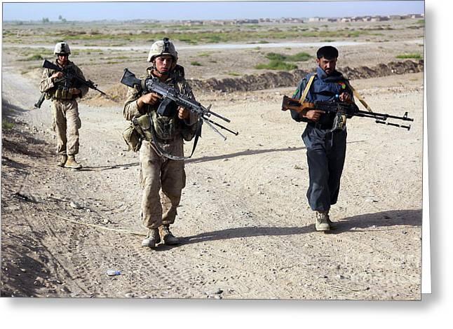 U.s. Marines And Afghan National Police Greeting Card by Stocktrek Images