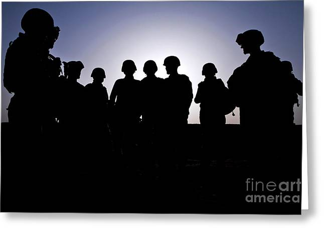 U.s. Marines And Civilian Contractors Greeting Card by Stocktrek Images