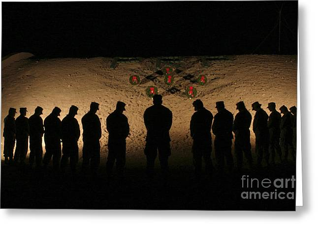 U.s. Marines Bowing Their Heads Greeting Card
