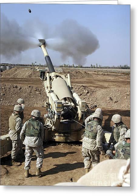 U.s. Marines Engage Enemy Targets Greeting Card