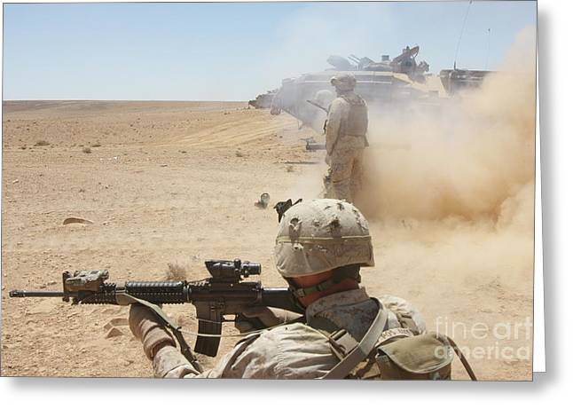 U.s. Marines Fire Several Greeting Card by Stocktrek Images