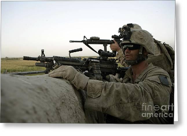 U.s. Marines Observe The Movement Greeting Card